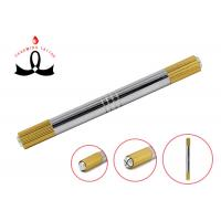 China Gold 2 Heads Permanent Makeup Tools Manual 3D Eyebrow Tattoo Pen wholesale