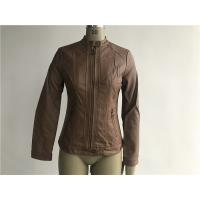 China Tan / Camel Color Fashion Ladies PU Jacket With Multi Topstitching And Ingot TW76765 wholesale