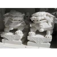 China White Jade Marble Lion Sculpture , Stone Animal Sculptures Customized Color wholesale