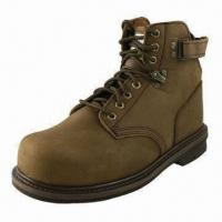 China Safety boot with steel toe and leather upper, ideal for men wholesale