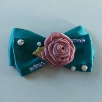 China Casual Toddler Girl Hair Accessories Satin Ribbon Bow With Handmade Flower on sale