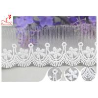 3CM African Mesh Embroidered Bridal Lace / Nylon Or Polyester Wedding Lace Trim