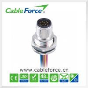 China Frente masculino del receptáculo del soporte del panel de IP67 M12 12pin que monta Sodered con los alambres wholesale