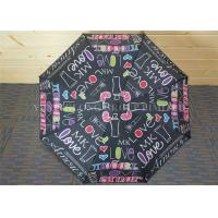 Study Storm Proof Windproof Folding Umbrella With Letter Patterns Metal Tips
