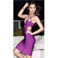 China Purple Cut Out V Neck Bandage Dress Spaghetti For Evening Party wholesale