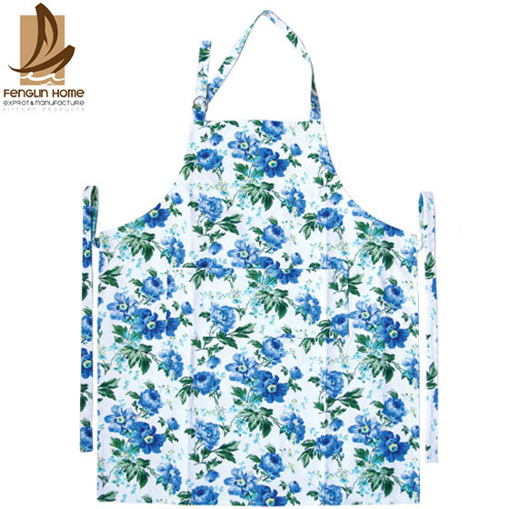 Quality Flower Printed Twill Weave Fabric Personalized Cooking Aprons Fashionable Aprons for sale