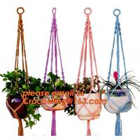 China COTTON ROPE BRAIDED FLOWER POTS HOLDER, DECORATIVE MACRAME PLANT HANGERS, HOUSEHOLD ARTICLES wholesale