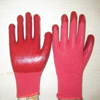 red PVC coated working gloves PG1514-3