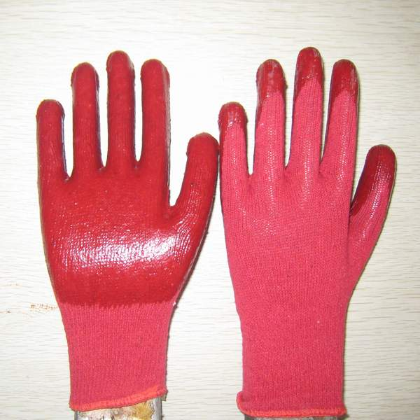 Quality red PVC coated working gloves PG1514-3 for sale