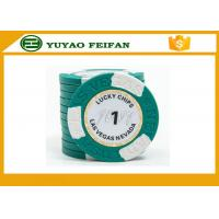 China Clay Two Block TEXAS HOLDEM Clay Poker Chips With Paper Stickers / Engraved Words wholesale