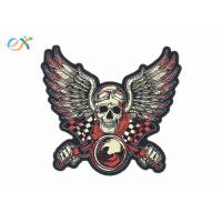 China Rectangle Shape Custom Motorcycle Jacket Patches Embroidered Logo Polyester Material on sale