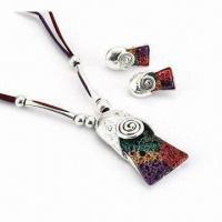 China Fashionable Jewelry Set, Made of Alloy, Special Volcano Resin Design, Comes in Various Colors on sale