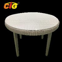 China PE Wicker Outdoor Furniture Table With Tempered Glass Top , Outdoor Wicker Table on sale