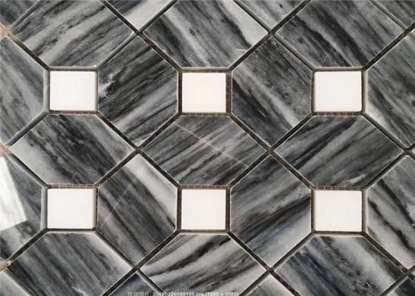 Quality Hilton Grey Marble Natural Stone Mosaic Tile For Corridor , Anti - Scratch for sale