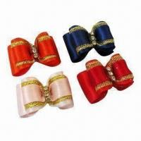 China Dog Bow Hair, Pet Hair Clips Made of Ribbon and Cyrstal, Available in Various Colors wholesale