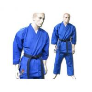 China Blue V Neck Karate kimono GI Karate Uniform with Customized Logo on sale