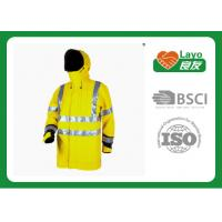 China Long Reflective Safety Rain Jacket Yellow Rain Coat For Police Working wholesale
