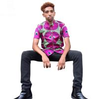 China Men African Print Tops , Short Sleeve Print Top Shirts Spring / Summer / Autumn wholesale