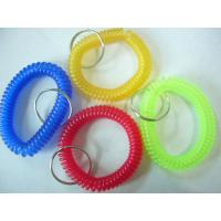 China Hot sales red blue/yellow/green transparent wristband coil holder w/key ring for anti-lost on sale