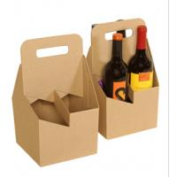 China Natural Brown Kraft Paper 4 Pack Beer Carrier Wine Box on sale