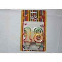 Glitz White Number Birthday Candles Party Paraffin Candle With Colorful Border