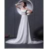China Elegant around the neck Chiffon Wedding Dresses with open back / cathedral train wholesale