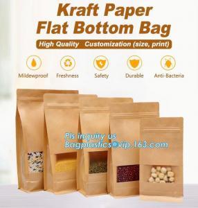 Kraft paper 3 side seal bag,kraft flat bottom bag, waterproof, moisture resistant, window bag, flat bottom bag,zipper se