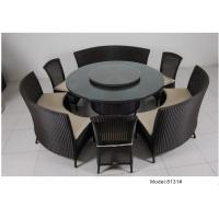 China 7-piece PE rattan wicker rotating round table hotel dining set for 9 people -8131 on sale