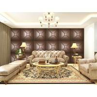 China Luxury Modern 3D Leather Wall Cladding TV Background Wallpaper Royal Office Wall Panels wholesale
