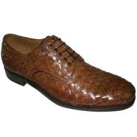 China lace-up leather woven brandy calf men's dress shoes on sale