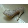 China Fasion Nude Platform Ladies High Heeled Leather Shoes Honeycomb Mesh Design wholesale