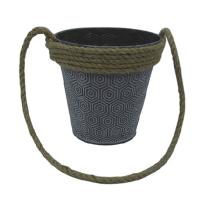 China Cheap price metal flower bucket garden pot with rope handle wholesale