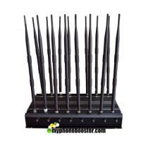 China 16 Channels 38W Desktop Signal Jammer Blocker Lojack Wifi GPS VHF UHF RF Wireless Mobile Phone Signal Jammer Blocker wholesale