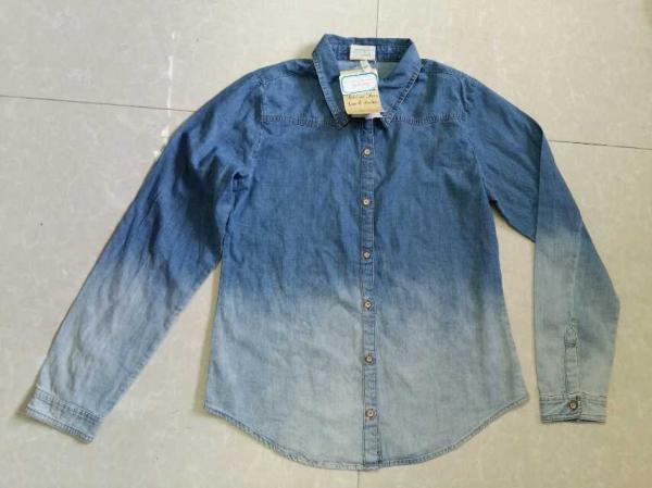 Quality Cheap unisex gradients color full sleeve denim shirts blouse tops stock lots for sale
