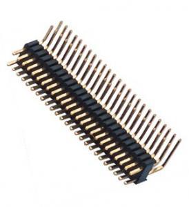 Dual Row Pin Header 1.27*2.54 Right Angle Dual Row 90° DIP 50 Pin Header PA9T black ROHS
