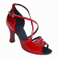 China Women latin dance shoes, made of red sparke and patent PU wholesale