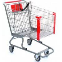China Unfolding Steel Supermarket Shopping Carts, small grocery shopping trolleys 4 wheels wholesale