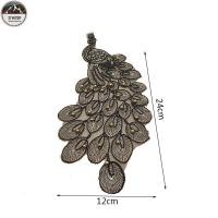 China Handmade Pearls Custom Cloth Badges , Gold Rope Peacock Patches For Dresses wholesale