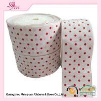 Buy cheap 2 Inch White Custom Printed Grosgrain Ribbon With Red Polka Dots For DIY Handwork from wholesalers