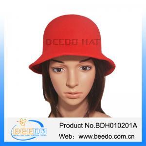China Faux wool felt short brim red bowler cloche bucket hat wholesale