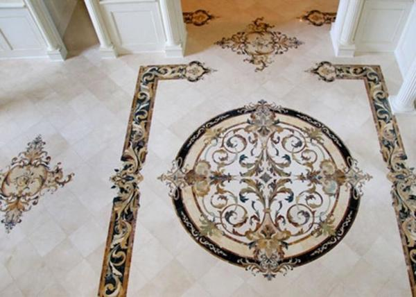 Quality Natural Marble Stone Mosaic Tile , Medallion Stone Floor Tiles 8mm Thickness for sale