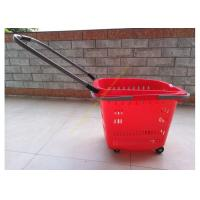 China Stackable Plastic Shopping Basket With Wheels For Grocery / Supermarket SGS wholesale