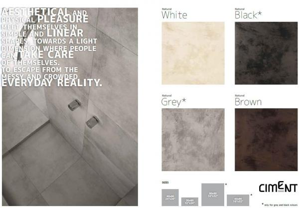 Quality porcelain floor or wall tiles: ciment for sale
