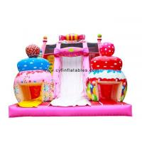 China Candy Themed Pink Dry Inflatable Slip Slide For Amusement Park Customized Size wholesale