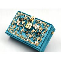China Blue Printing Flannel Evening Clutch Bags With Small Bling Crystals Accessories wholesale