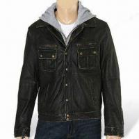 China Leather Jacket in Old and Beat Up Style, Suitable for Men wholesale