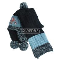 China 2015 warm style and fashion winter knitted set of scarves and hats FS034 wholesale