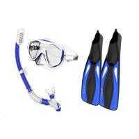 China Silicone Monthpiece Adult Snorkel Set 100 % Leak - Proof With Blue Color wholesale