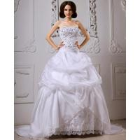 China Sequined Lace ruffled Strapless Wedding Gowns with long trains , white on sale
