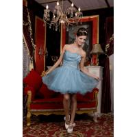 China Formal Keen Length Beading Plus Size Cocktail Party Dresses , Blue Organza A Line Style on sale
